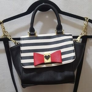 Betsey Johnson Sling Striped Shoulder Purse Bag